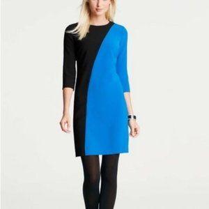 Ann Taylor Black Blue Colorblock 3/4 Sleeve Dress